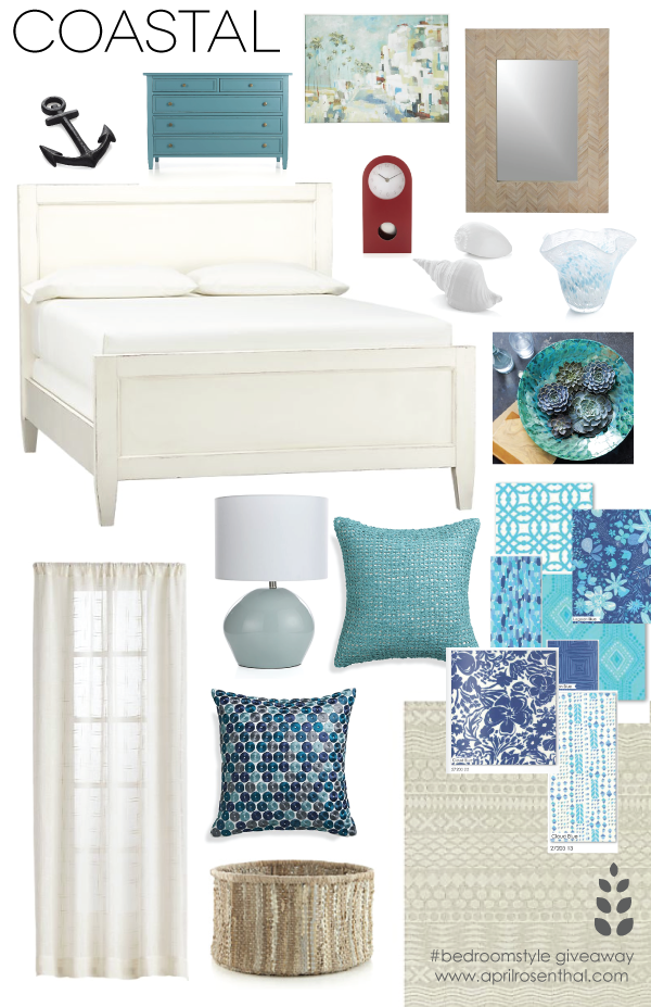 CoastalMoodBoard #bedroomstyle giveaway www.aprilrosenthal.com